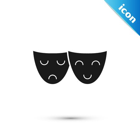 Black Comedy and tragedy theatrical masks icon isolated on white background. Vector Illustration