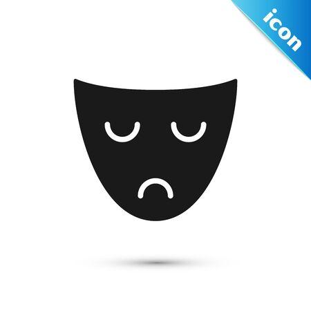 Black Drama theatrical mask icon isolated on white background. Vector Illustration