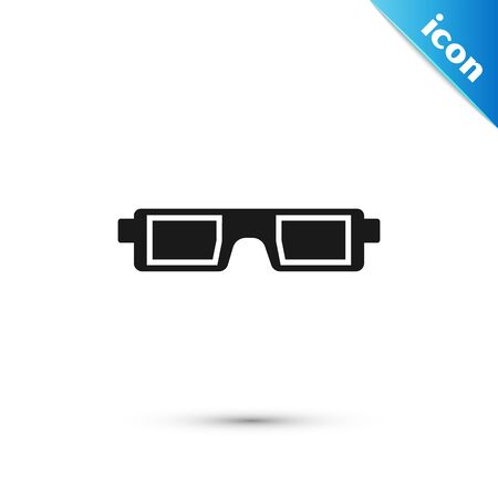 Black 3D cinema glasses icon isolated on white background. Vector Illustration Illustration