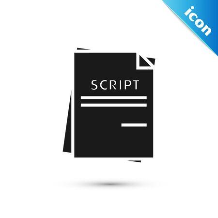 Black Scenario icon isolated on white background. Script reading concept for art project, films, theaters. Vector Illustration Illusztráció