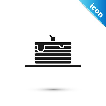 Black Stack of pancakes icon isolated on white background. Baking with syrup and cherry. Breakfast concept. Vector Illustration