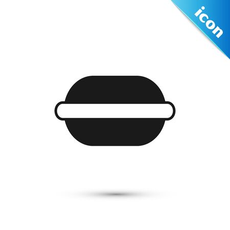 Black Macaron cookie icon isolated on white background. Macaroon sweet bakery. Vector Illustration