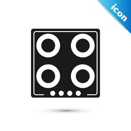 Black Gas stove icon isolated on white background. Cooktop sign. Hob with four circle burners. Vector Illustration