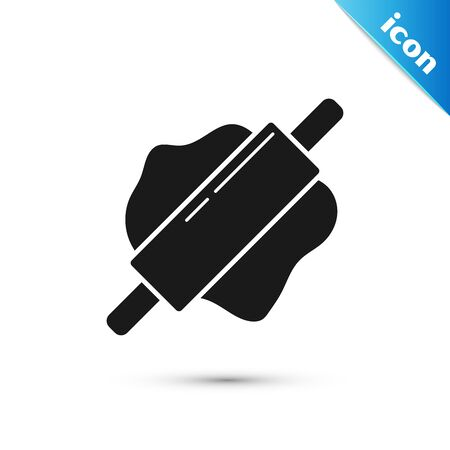 Black Rolling pin icon isolated on white background. Vector Illustration