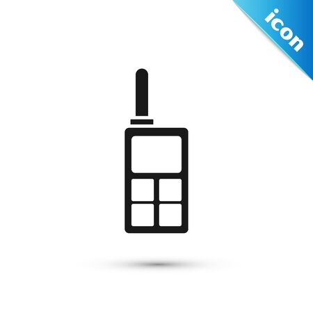 Black Walkie talkie icon isolated on white background. Portable radio transmitter icon. Radio transceiver sign. Vector Illustration