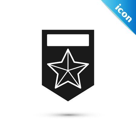 Black Chevron icon isolated on white background. Military badge sign. Vector Illustration Illustration