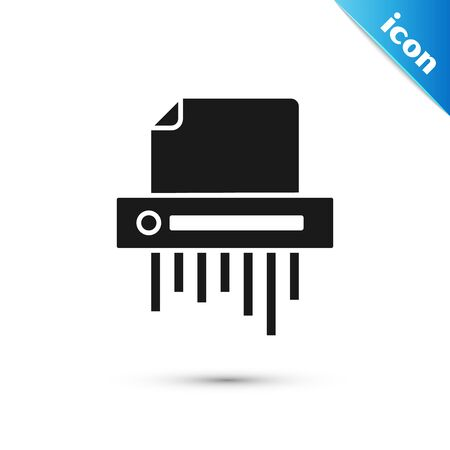 Black Paper shredder confidential and private document office information protection icon isolated on white background. Vector Illustration