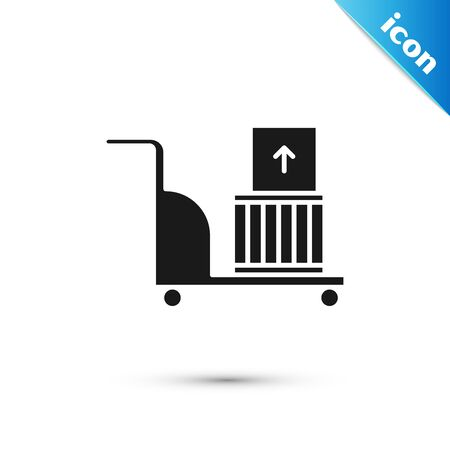 Black Electric hand truck and boxes icon isolated on white background. Dolly symbol. Vector Illustration