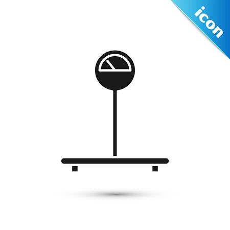 Black Scale icon isolated on white background. Logistic and delivery. Weight of delivery package on a scale. Vector Illustration