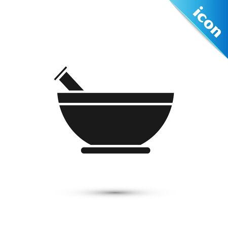 Black Mortar and pestle icon isolated on white background. Vector Illustration