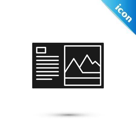 Black Postcard icon isolated on white background. Vector Illustration Stock Illustratie