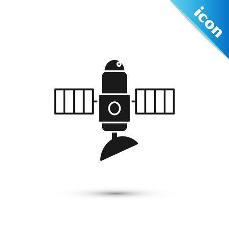 Black Satellite icon isolated on white background. Vector Illustration Иллюстрация