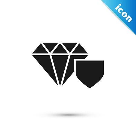 Black Diamond with shield icon isolated on white background. Jewelry insurance concept. Security, safety, protection, protect concept. Vector Illustration Ilustrace