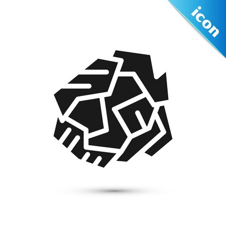 Black Crumpled paper ball icon isolated on white background. Vector Illustration
