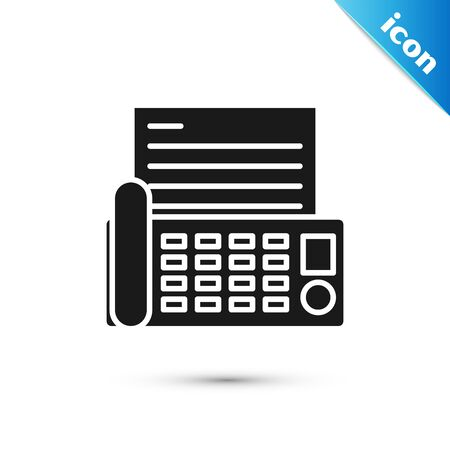 Black Fax machine icon isolated on white background. Office Telephone. Vector Illustration