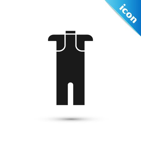 Black Wetsuit for scuba diving icon isolated on white background. Diving underwater equipment. Vector Illustration