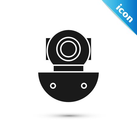 Black Aqualung icon isolated on white background. Diving helmet. Diving underwater equipment. Vector Illustration