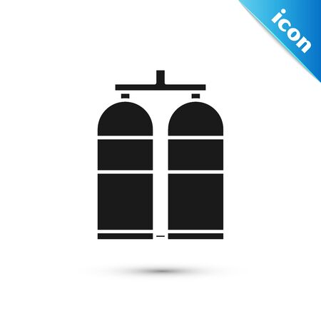 Black Aqualung icon isolated on white background. Oxygen tank for diver. Diving equipment. Extreme sport. Diving underwater equipment. Vector Illustration Illustration