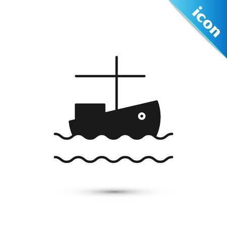 Black Fishing boat on water icon isolated on white background. Vector Illustration