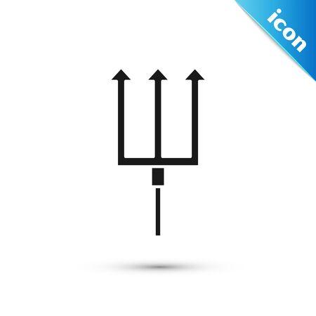 Black Neptune Trident icon isolated on white background. Vector Illustration Ilustracja