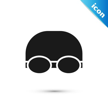 Black Glasses and cap for swimming icon isolated on white background. Swimming cap and goggles. Diving underwater equipment. Vector Illustration Ilustración de vector