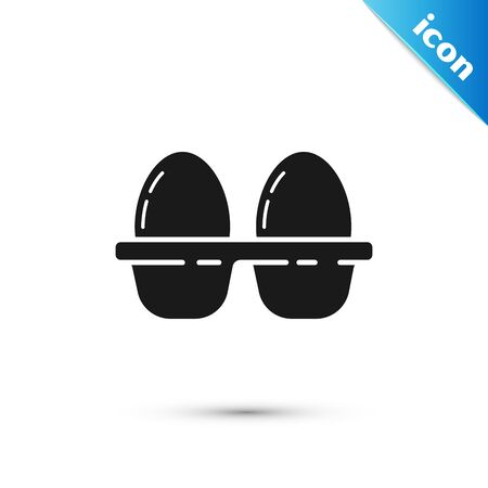 Black Chicken egg in box icon isolated on white background. Vector Illustration