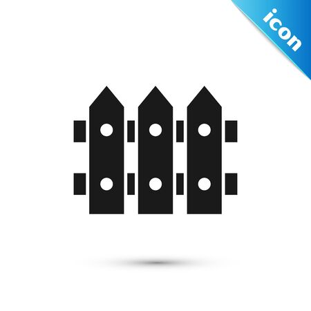 Black Garden fence wooden icon isolated on white background. Vector Illustration Vettoriali