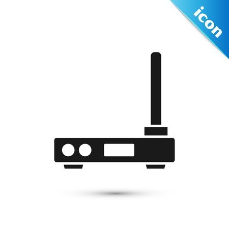 Black Router and wifi signal symbol icon isolated on white background. Wireless modem router. Computer technology internet. Vector Illustration