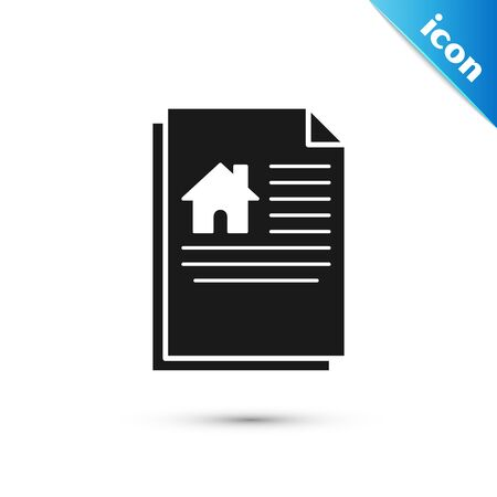 Black House contract icon isolated on white background. Contract creation service, document formation, application form composition. Vector Illustration Stock Illustratie