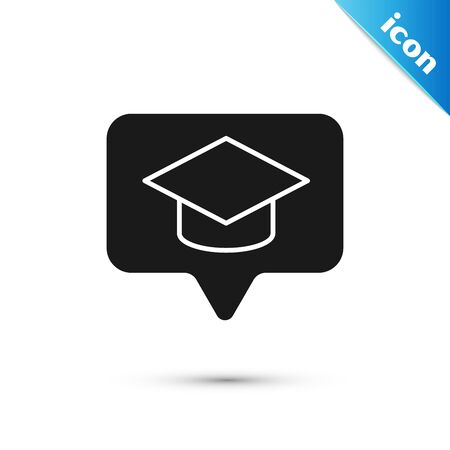 Black Graduation cap in speech bubble icon isolated on white background. Graduation hat with tassel icon. Vector Illustration