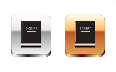 Black Scenario icon isolated on white background. Script reading concept for art project, films, theaters. Silver-gold square button. Vector Illustration Illusztráció
