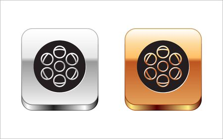 Black Film reel icon isolated on white background. Silver-gold square button. Vector Illustration Illustration