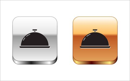 Black Covered with a tray of food icon isolated on white background. Tray and lid sign. Restaurant cloche with lid. Kitchenware symbol. Silver-gold square button. Vector Illustration