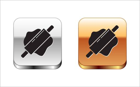 Black Rolling pin icon isolated on white background. Silver-gold square button. Vector Illustration