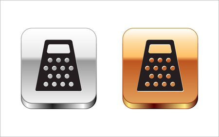 Black Grater icon isolated on white background. Kitchen symbol. Cooking utensil. Cutlery sign. Silver-gold square button. Vector Illustration Stock Illustratie