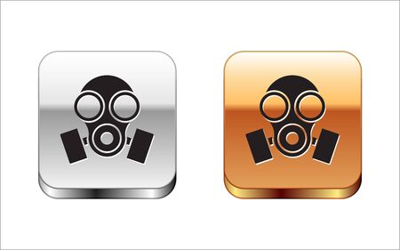 Black Gas mask icon isolated on white background. Respirator sign. Silver-gold square button. Vector Illustration Vectores