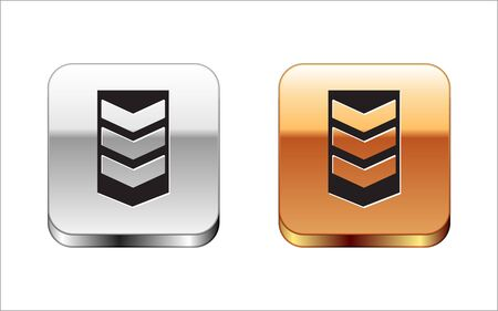 Black Military rank icon isolated on white background. Military badge sign. Silver-gold square button. Vector Illustration