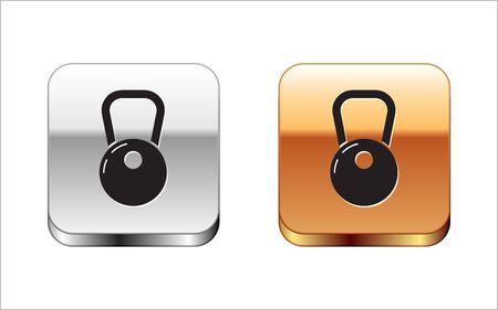 Black Kettlebell icon isolated on white background. Silver-gold square button. Vector Illustration