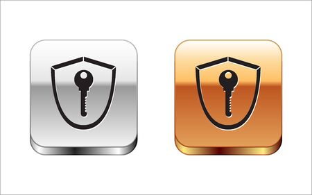 Black Shield with key icon isolated on white background. Protection and security concept. Safety badge icon. Privacy banner. Defense tag. Silver-gold square button. Vector Illustration