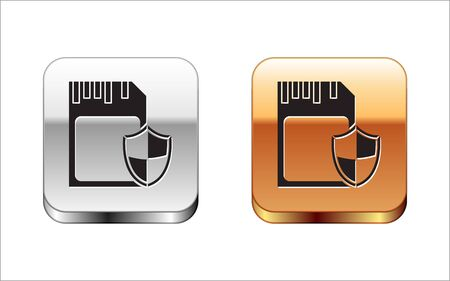 Black SD card and shield icon isolated on white background. Memory card. Adapter icon. Security, safety, protection, privacy concept. Silver-gold square button. Vector Illustration