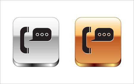 Téléphone noir avec icône de chat bulle isolé sur fond blanc. Support service client, hotline, centre d'appels, faq, maintenance. Bouton carré argent-or. Illustration vectorielle