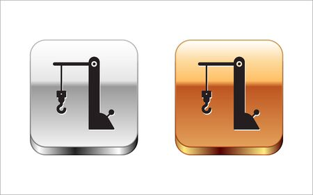Black Harbor port crane icon isolated on white background. Cargo crane tower. Silver-gold square button. Vector Illustration