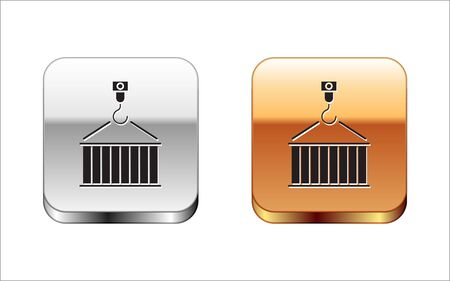 Black Container on crane icon isolated on white background. Crane lifts a container with cargo. Silver-gold square button. Vector Illustration Banque d'images - 132781286