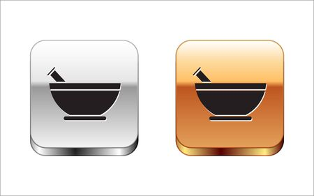 Black Mortar and pestle icon isolated on white background. Silver-gold square button. Vector Illustration