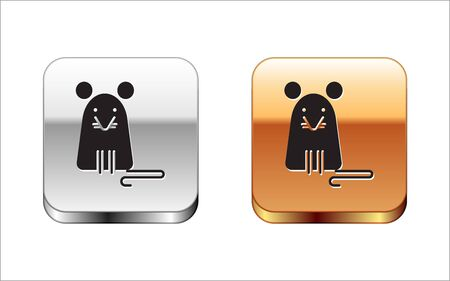Black Rat icon isolated on white background. Mouse sign. Silver-gold square button. Vector Illustration