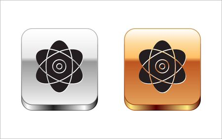 Black Atom icon isolated on white background. Symbol of science, education, nuclear physics, scientific research. Electrons and protons sign. Silver-gold square button. Vector Illustration Illustration