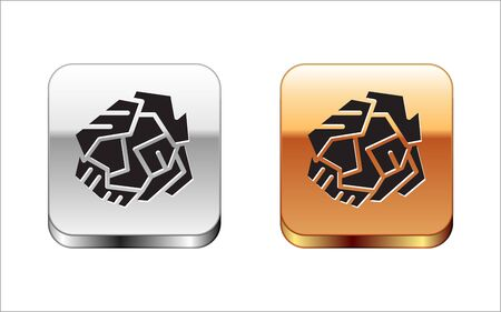 Black Crumpled paper ball icon isolated on white background. Silver-gold square button. Vector Illustration