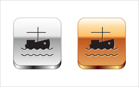 Black Fishing boat on water icon isolated on white background. Silver-gold square button. Vector Illustration