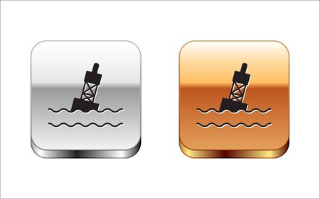 Black Floating buoy on the sea icon isolated on white background. Silver-gold square button. Vector Illustration