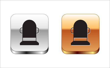 Black Buoy icon isolated on white background. Silver-gold square button. Vector Illustration